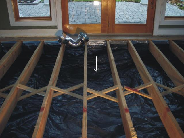 Radon barrier (20 mil) to keep moisture and mold contained in a crawl space area
